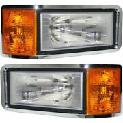 Halogen Headlight Set For 1991-2007 Mack Cl Left And Right W/ Bulbs Pair
