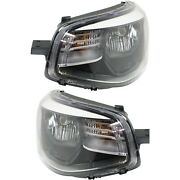 Headlight Set For 2014-2016 Kia Soul Left And Right Black Housing With Bulb 2pc