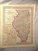 Antique Color Mitchell 1872 County Map Of The State Of Illinois And Springfield
