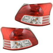 Halogen Tail Light Set For 2007-2012 Toyota Yaris Clear/red Lens W/ Bulbs 2pcs
