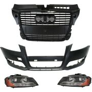 Bumper Cover And Headlight Kit For 2009-2013 Audi A3 Front Primed Halogen Type 2