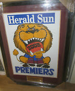 2003 Brisbane Lions Weg Premiership Poster - Framed With Mattes And Plaque