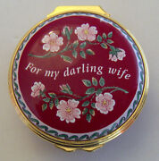 Halcyon Days Enamels Round Trinket Box For My Darling Wife With All My Love
