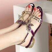 Womens Crystal Peep Toes Ankle Strap Summer Sands Bohemia Low Heel Chic Sandals