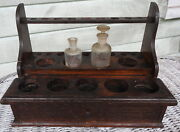Doctors Chemist Antique Apothecary Test Tube Stand And Drawer Solid Oak W Bottles