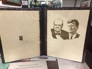 Churchill With Jfk Lithograph Hand Signed By Sarah Churchill With St Cjl012264