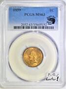 1859 Indian Head Cent Pcgs Ms-63 With Photo Seal Premium Quality Luster