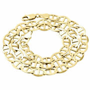 Real 10k Yellow Gold Solid Flat Mariner Chain 8.80mm Necklace Plain 22-30 Inches