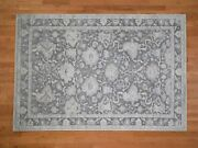 6and0391x8and0399 Hand-knotted Oushak Influence Silk Oxidized Wool Oriental Rug R41657