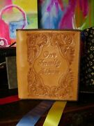 Ultra Rare Vintage Hand Tooled Leather Family Photo Album Souvenir Notebook Book