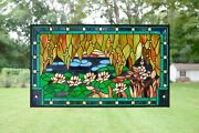 Stained Glass Window Panel Waterlily Lotus Flower Pond ,34.75 X 20.5
