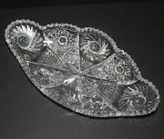 Antique American Brilliant Cut Glass Oblong Vegetable Or Relish Dish Extra Long