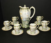 Antique Rs Prussia Chocolate Set With Swans Chocolate Pot With Matching Cups