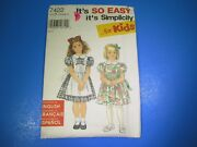 Vintage Sewing Pattern Kit Simplicity 7422 Child's Pinafore Dress Size A S7291