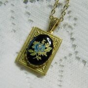 Handmade Blue Rose And Black Limoges Book Locket Necklace Victorian Rose Jewelry