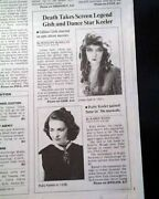 Lillian Gish And Ruby Keeler Movie Film Actresses Death 1993 Los Angeles Newspaper