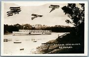 Photomontage Airplanes Airships Over Bangor Me Antique Real Photo Pc Rppc Ship