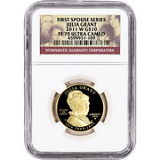 2011-w Us First Spouse Gold 1/2 Oz Proof 10 - Julia Grant Ngc Pf70