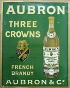 Aubron Three Crowns French Brandy 1920 Advertising Poster - France