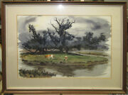 Tom Craig And03940s California Wc Cows Under Tree Listed California Style Watercolor