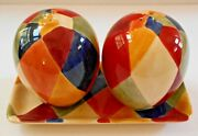 Ciao Harlequin Salt And Pepper Shakers With Tray Hand Painted Earthenware Large