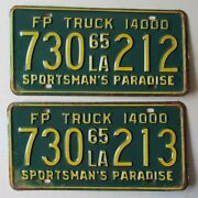 Louisiana 1965 Fp Truck Consecutive Number License Plates 730 212 And 730 213