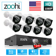 Zoohi 8ch 1080p Home Security Camera System Cctv Outdoor 5in1 Ahd 1080n Dvr 2tb
