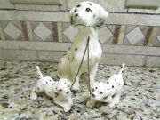 Erich Stauffer Japan Dalmatian Family On Chains Antique Figurine Statue China