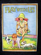 Barbara Spurr 1930's Childrens Book Cover Painting Play With Us