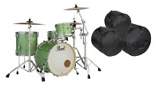 Pearl Masters Complete 22x16_12x8_16x16 Absinthe Sparkle Shell Pack +free Bags