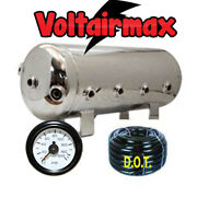 V 5 Gal Polished Stainless Steel Air Tank 8 Port Airride 50and039 3/8 Airhose/gauge