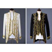 Mens 3pc White Gold Embroidery Suits Groom Tuxedos Wedding Party Coat Pants Vest