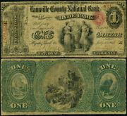 Hyde Park Vt 1 1865 National Bank Note Ch 1163 Lamoille County Nb Fine