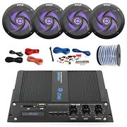 Pyle Marine 4-channel Bluetooth Amp + Kit 4x 4 Black Led Speakers 50 Ft Wire