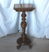 Large Antique Mahogany Pedestal Stand Andndash Merklen Style Andndash Top Is 16andprime X 16andprime