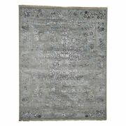 7and0399x10and039 Grey With Wool And Silk Hand Knotted Traditional Village Rug R41241