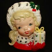 Vintage Napco Christmas Girl Head Vase With Present And Gloves