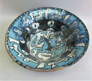 Fine 19th C. Persian Islamic Art Pottery Bowl W/ Man On Horse Middle East