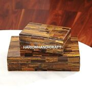 2 Set Marble Tiger Eye Semi Trinket Box Collectible Inlay Veterans Day Gifts E14