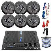 Pyle Marine 6-channel Bluetooth Amp + Kit 6x 4 Black Speakers 18-g 50 Ft Wire