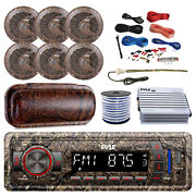 Pyle Marine Bluetooth Radio + Cover 6x 6.5and039and039 Speakers Amp + Kit Antenna Wire