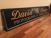 8and039foot Antique Wood Trade Sign Old Photo Studio Vintage Camera Store Photography
