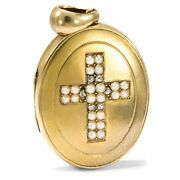 Paris Um 1875 Medallion From 750 Gold With Natural Beads And Diamond Photo