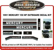 1991 1992 1993 Mercury 150 Black Max Reproduction Decals 135 175 Hp Also