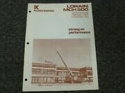 Koehring Lorain Mch-500 Crane Specifications And Lifting Capacities Manual