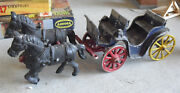 Antique Cast Aluminum Stanley Toys Two Horse Drawn Cart Or Carriage
