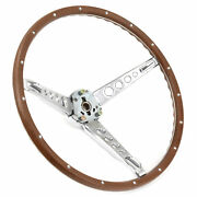 65 66 Ford Mustang Deluxe Woodgrain Steering Wheel W/ Horn Ring And Collar