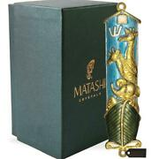 Matashi Hand Painted Blue Enamel Noah's Ark Mezuzah With Crystals, Gold Accents