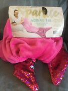 Sparkle Mermaid Tail With Sequins Pink Royal Plush Blanket 18 X 52 - New Read