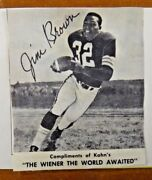 Kahnand039s Weiners 1959-60 Football Book W/ Rookie Jim Brown Paper Catalog Ad Card